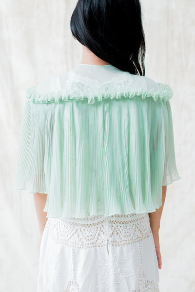 1950s Pale Green Pleated Jacket - S/M