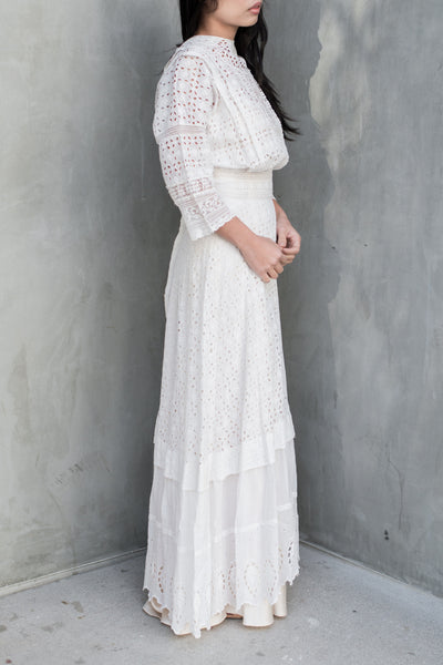 Edwardian Eyelet Cotton Dress - XS