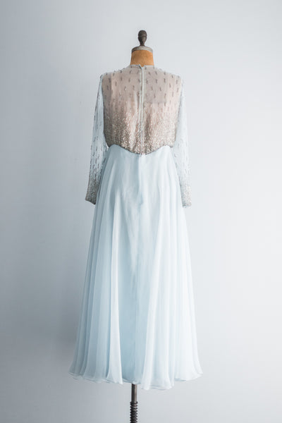 1960s Baby Blue Beaded Gown - M