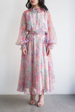 1970s Chiffon Poet Sleeve Floral Dress - M
