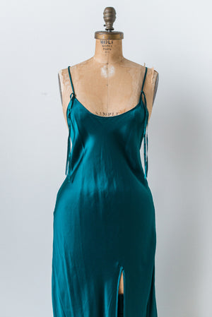 Vintage Emerald Silk Bias Cut Slip - M