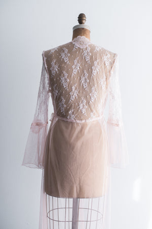 Vintage Pink Lace and Net Dressing Gown - S/M