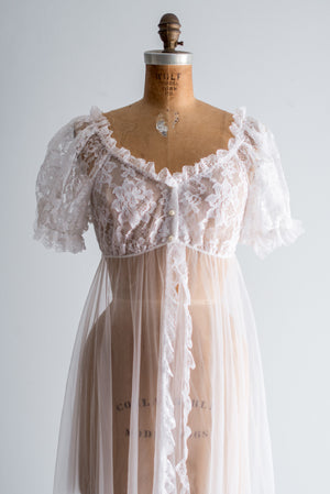 1960s Tricot and Lace Dressing Robe - S/M