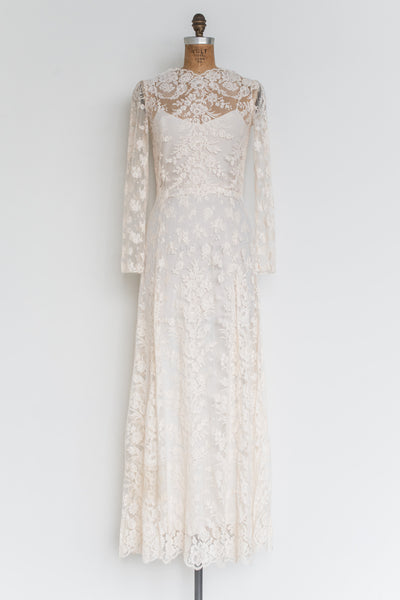 RENTAL Sheer Silk Lace Gown - XS