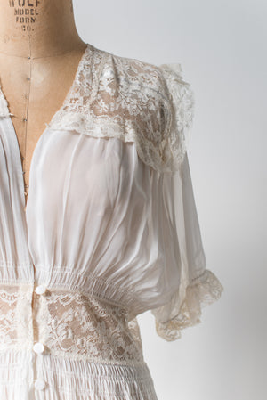 1940s Chiffon and Lace Dressing Gown - S/M