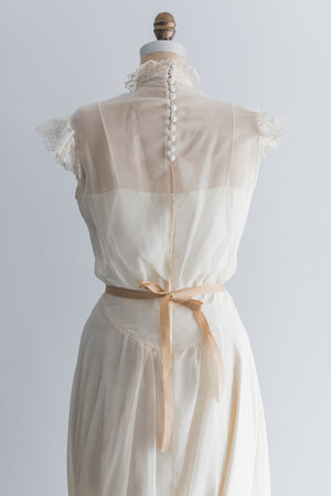 Vintage Chiffon and Lace Dress - S/M
