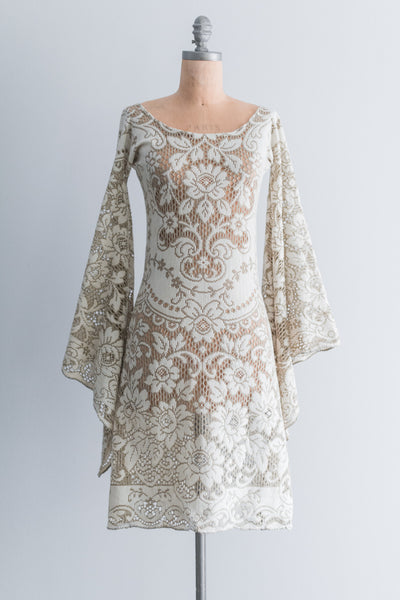 1970s Boho Floral Roses Crochet Bell Sleeves Dress - S