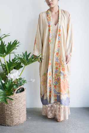 1920s Pongee Silk Beige Floral Robe - One Size