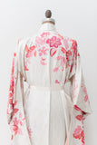 Vintage Textured Silk Kimono with Pink Embroidered Floral