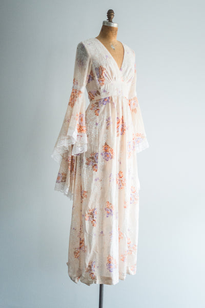 1970s Angel Sleeves Maxi Dress - S/M