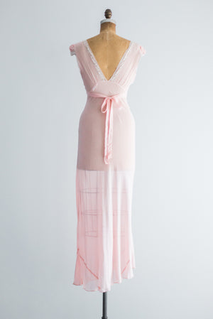 1930s Sheer Pink Silk Nightgown Slip - S
