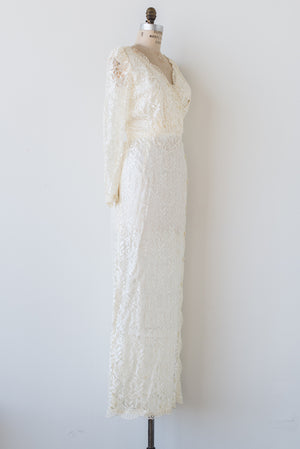 1980s Satin Lace Wiggle Dress - M/L