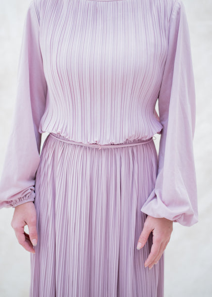 1970s Lavender Pleated Gown - M