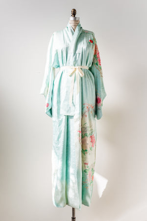 Vintage Silk Sky Blue Floral Embroidered Kimono - One Size