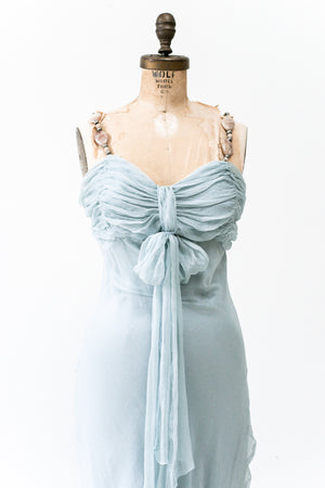 1990s Light Blue Silk Dress - XS