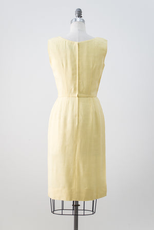 1960s Yellow Beaded Linen Dress - S