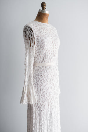 1970s Crochet Bell Sleeves Gown - S/M