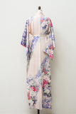 Vintage Silk Pink and Purple Floral Kimono - One Size