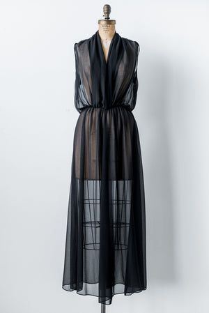RENTAL Sheer Black Chiffon Gown - S