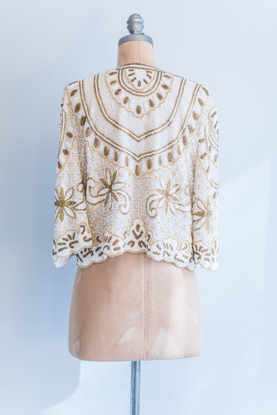 1980s Silk Gold and White Beaded Jacket - S/M