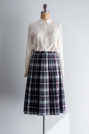 1950s Plaid Wool Pleated Skirt - M/L