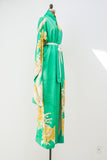 Vintage Silk Green and Yellow Kimono - One Size