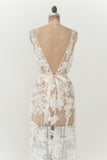 Ivory V-Neck Lace Gown - S