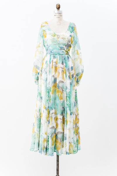 1970s Blue and Green Chiffon Floral Dress - S/M