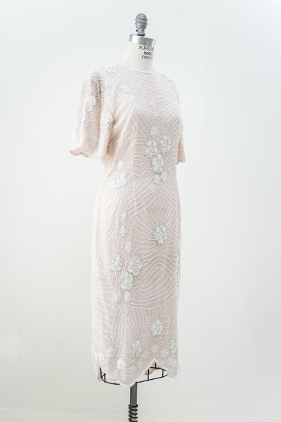 1980s Shell Pink Silk Beaded Dress - S/M