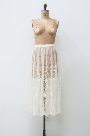 Antique Tulle Embroidered Lace Skirt- M/L