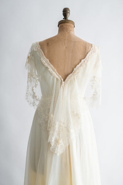 1970s Lace Tulle Gown - S