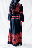 1970s Vintage Wrap Embroidered Dress - S/M