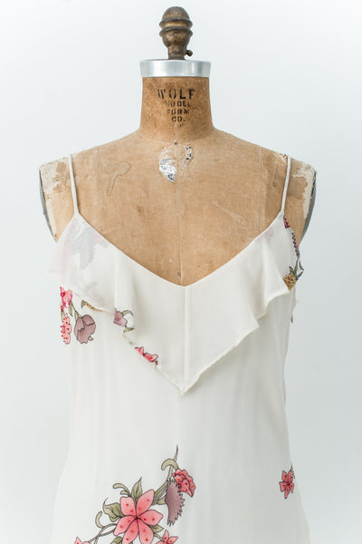 Modern Cream Silk Beaded Floral Gown - M/L