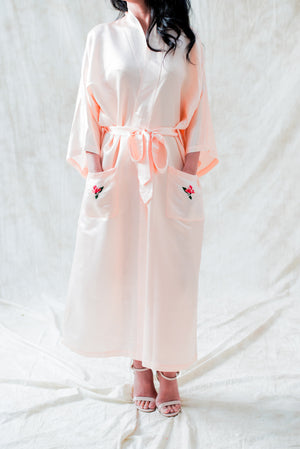 Vintage Silk Satin Embroidered Robe - M