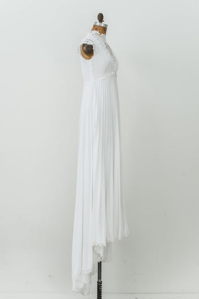 1970s Ivory Jersey and Embroidered Lace Gown - S