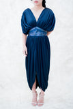 1980s Navy Poly Satin Grecian Dress - S/M