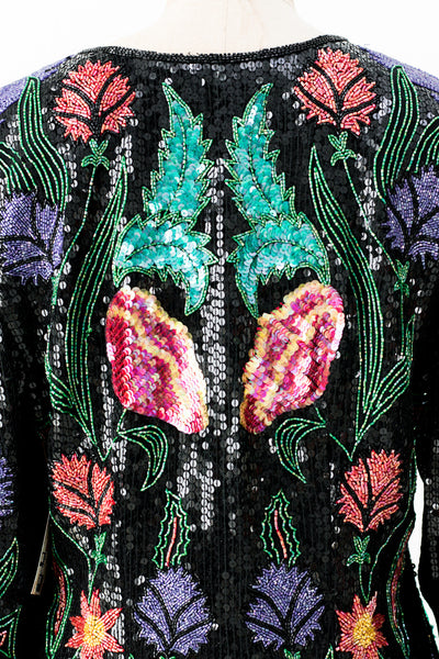 1980s Turquoise and Black Beaded Jacket - M