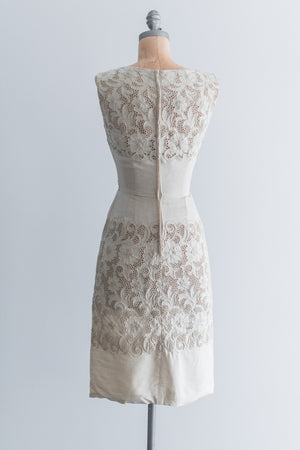 1960s Embroidered Cutout Silk Linen Dress - S