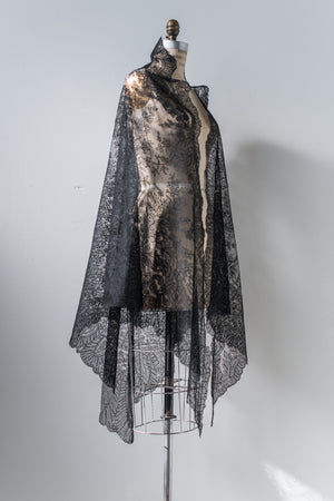 Large Antique Black Silk Lace Shawl - One Size