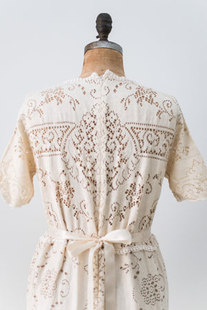 1970s Crochet Lace Dress - L/XL