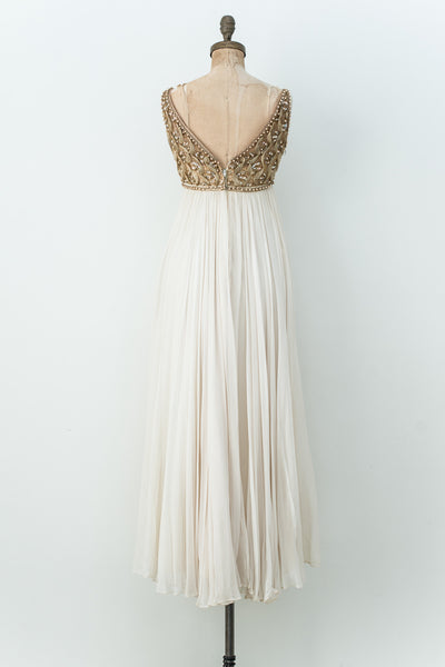 1960s Empire Chiffon and Sequined Gown - XS