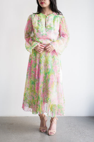 1970s Citrus Burst Floral Chiffon Dress - S/M