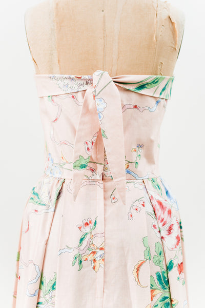 1950s Strapless Cotton Floral Dress - S