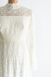 1970s Bell Sleeves Crochet Lace Gown - S/M