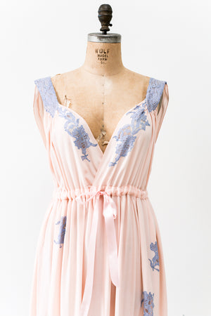 1930s Pink and Purple Rayon and Lace Slip - M/L