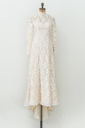 1960s Alencon Lace Gown with Silk Organza - XS