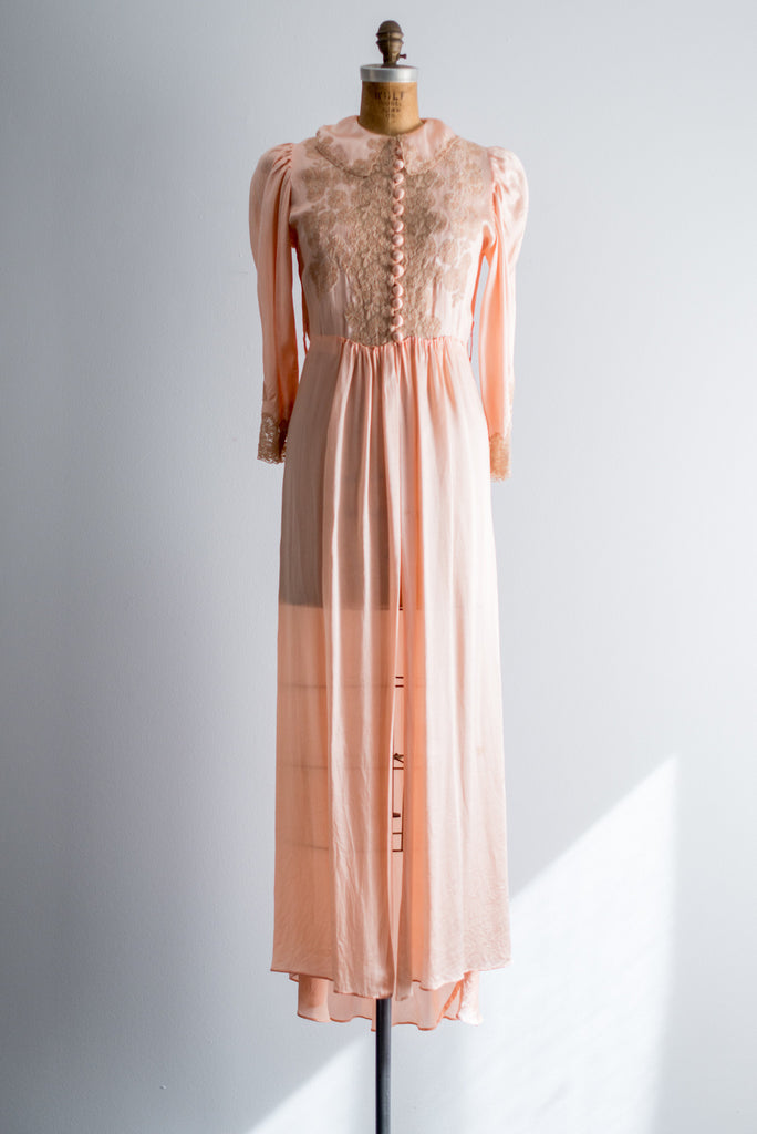 1940s Silk Satin and Lace Dressing Gown - S/M ...