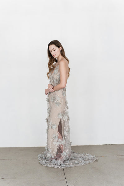GOSSAMER Pewter Gray Organza and Lace Gown - Custom