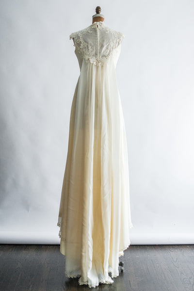 1970s Embroidered Appliqué Lace and Chiffon Gown - S/M