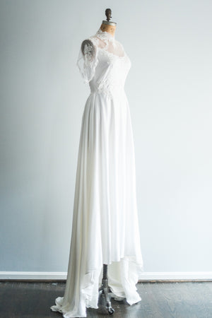 1960s High Neck Jersey Gown - L